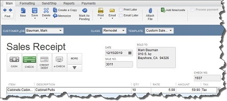QuickBooks Tip Sales receipt