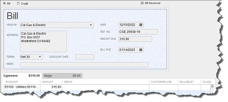 Screenshot of Quickbooks user screen